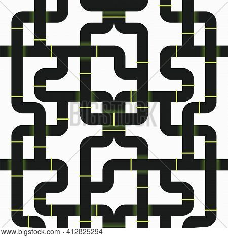 Black Sewage Pipelines Intertwined In An Industrial Pattern. Vector Seamless Pattern Design For Text