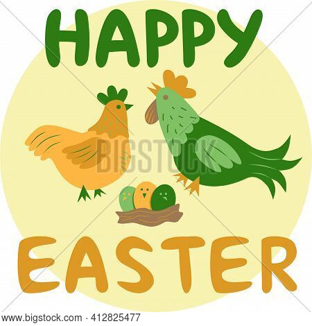 Happy Easter Card, Chicken, Cock And Easter Eggs