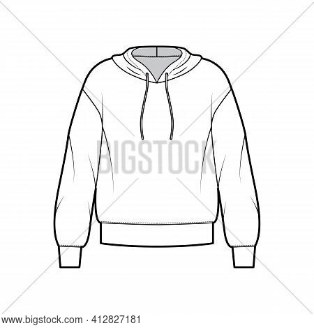 Hoody Sweatshirt Jumper Technical Fashion Illustration With Long Sleeves, Oversized Body, Banded Hem