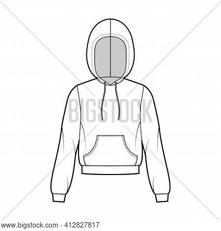 Hoody Sweatshirt Technical Fashion Illustration With Long Sleeves, Relax Body, Kangaroo Pouch, Bande