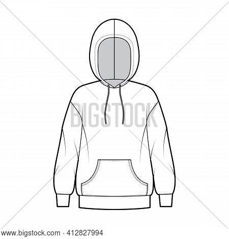 Hoody Sweatshirt Technical Fashion Illustration With Long Sleeves, Oversized Body, Kangaroo Pouch, B