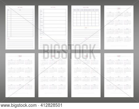 2022 2023 2024 2025 Calendar Daily Weekly Monthly Personal Planner Diary Template In Cute Minimalist