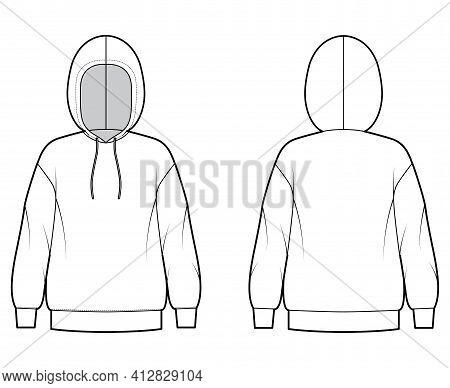 Hoody Sweatshirt Technical Fashion Illustration With Long Sleeves, Oversized Body, Banded Hem, Cuff.