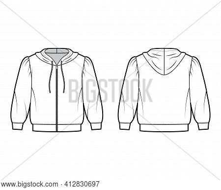 Zip-up Hoody Sweatshirt Technical Fashion Illustration With Elbow Sleeves, Relax Body, Banded Hem, D