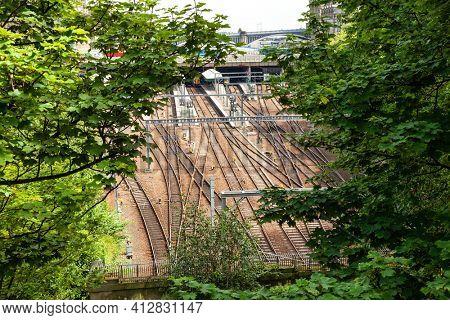 Edinburgh city historic Train Station railway as seen from the Mound, Edinburgh, Scotland, UK