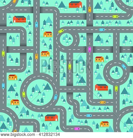 Cute Road Map In Winter Blue Pattern For Children Inspired In The Countryside Landscape. Vector Seam