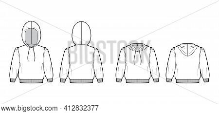 Set Of Hoody Sweatshirt Technical Fashion Illustration With Elbow Sleeves, Relax Body, Knit Cuff, Ba