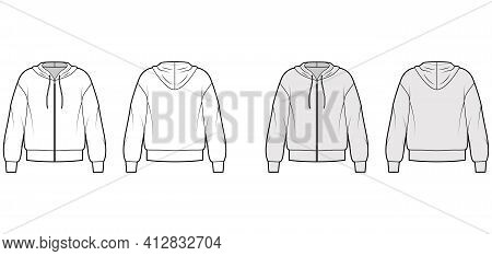 Zip-up Hoody Sweatshirt Technical Fashion Illustration With Long Sleeves, Oversized Body, Banded Hem