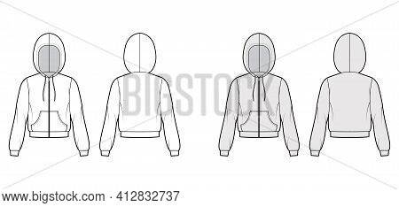 Zip-up Hoody Sweatshirt Technical Fashion Illustration With Elbow Long Sleeves, Relax Body, Kangaroo