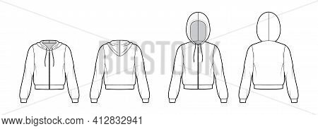 Set Of Zip-up Hoody Sweatshirt Technical Fashion Illustration With Elbow Long Sleeves, Relax Body, B