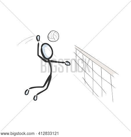 Playing Volleyball. Vector Simple Team Sports. Beach Volleyball Jump. Stickman No Face Clipart Carto