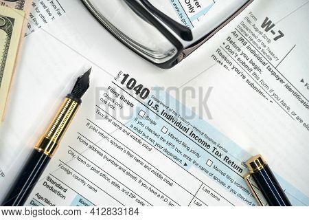 Blank Tax Form 1040 U.s. Individual Income Tax Return. Tax Payment Tax Concept.