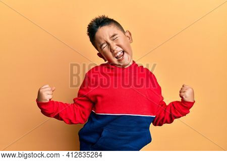 Little boy hispanic kid wearing casual sweatshirt very happy and excited doing winner gesture with arms raised, smiling and screaming for success. celebration concept.