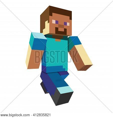 3d Pixel Character. Game Hero Concept. Game Concept Of Playable Characters. Vector Illustration