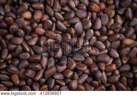 A Lot Of Small Unpeeled Pine Nuts. Siberian Pine Nuts For A Healthy Food Background