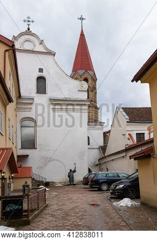 Vilnius, Lithuania - March 14, 2021: Evangelical Lutheran Church In Vilnius Old Town, Lithuania.