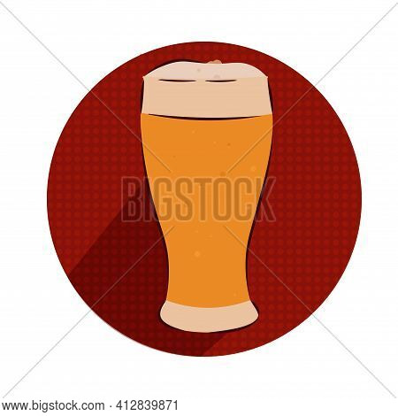 Isolated Beer Glass Style Draw Logo Red Icon- Vector