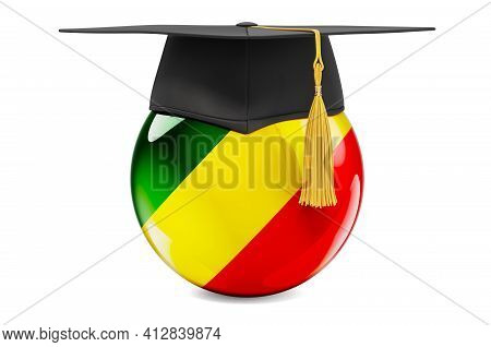 Education In Congo Concept. Congo Flag With Graduation Cap, 3d Rendering Isolated On White Backgroun