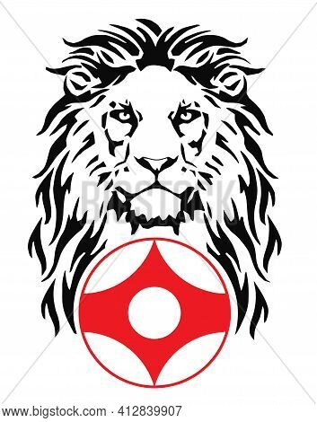 The Lion And Karate Kyokushin Kanku Original Simbol, Drawing For Tattoo, On A White Background, Vect