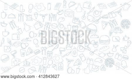 Food Icon Background. Fast Food Vector Icon Background.