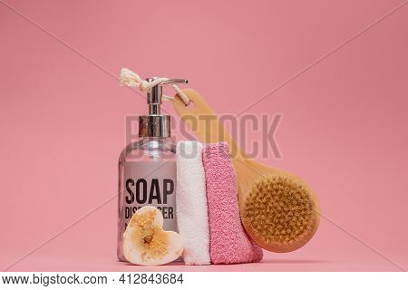 Cosmetic Bottles With Cosmetics For Body Care. Acessories For Bath, Towel And Organic Dry Shampoo Fo