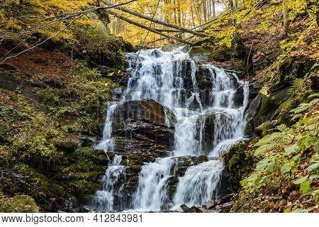 Waterfall Shypit, Cascade In Pylypets In The Autumn Forest. Carpathian Mountains, Zakarpatska Oblast