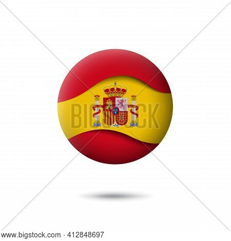 Spain Flag Icon In The Shape Of Circle. Waving In The Wind. Abstract Waving Spanish Flag. Paper Cut