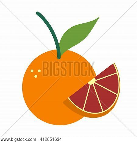 Grapefruit Vector Icon. Isolated Illustration Of A Fruit On A White Background.
