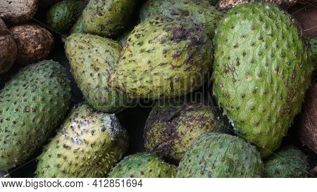 Heaps Of Soursop Fruit In The Indonesian Market