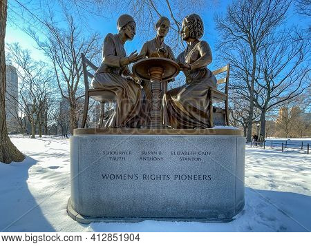 New York Ciity - Feb 21, 2021: Women's Rights Pioneers Monument In The Winter Covered In Snow Commem