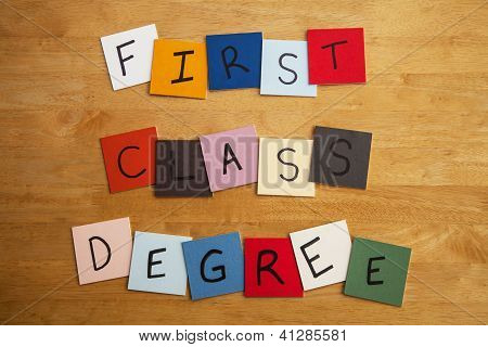 'first Class Degree' In Letters And Words On Tiles - Education, Lecturers, Univeristy