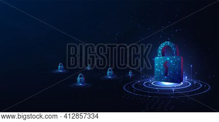 Cyber Security And Information Protection Design Concept.padlock With Keyhole Symbol On Dark Blue Ba