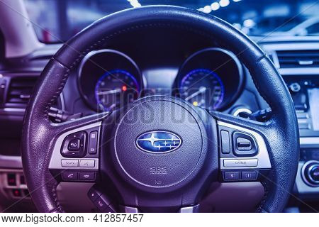 Novosibirsk, Russia - March 16  2021: Subaru Outback, Interior Of New Modern Suv Car With Automatic
