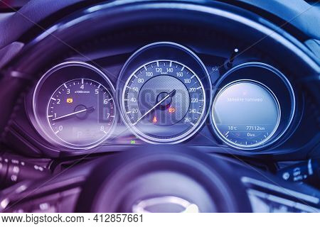 Novosibirsk, Russia - March 16  2021: Mazda Cx-5, Car Panel, Digital Bright Speedometer, Odometer An