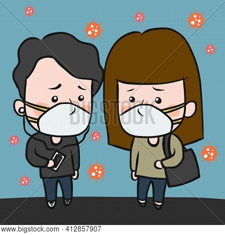 Adult People Wear Protection Mask For Protect Virus In The Air Cartoon Vector Illustration