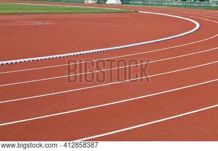Running Track Is A Rubberized Artificial Running Surface For Track In Stadium.