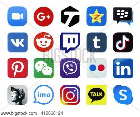 Kharkov, Ukraine - February 24, 2021: Many Icons Of Popular Social Networks And Messengers Printed O