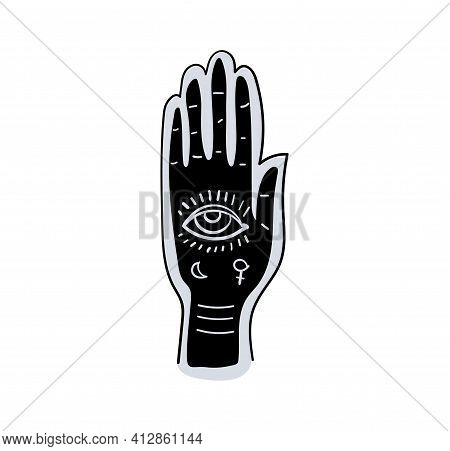 Fortune Telling By Hand And Along The Lines Of Fate, Palmistry, Prediction And Fortune-telling. Blac