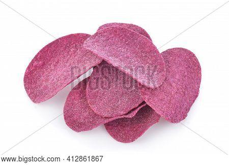Purple Sweet Potato Chips Isolated On White Background