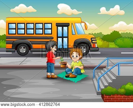 Illustration Of A Boy Give Money To A Beggar