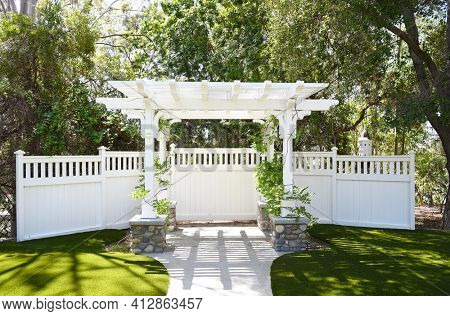 LAKE FOREST, CA - APRIL 14, 2017: Garden Arbor at Heritage Hill Historical Park. The 4 acre park includes, 4 fully restored historic buildings from Saddleback Valley - El Toro.