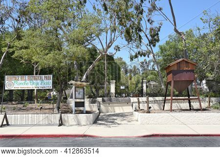 LAKE FOREST, CA - APRIL 14, 2017: Heritage Hill Historical Park Entrance. The 4 acre park includes, 4 fully restored historic buildings from Saddleback Valley - El Toro from the Mexican Rancho era.