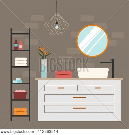 Modern Bathroom Interior With Color Accents. Flat Illustration.