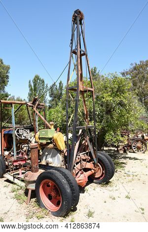 LAKE FOREST, CA - APRIL 14, 2017: Farm machinery at Heritage Hill Historical Park. The 4 acre park includes, 4 fully restored historic buildings from Saddleback Valley - El Toro.