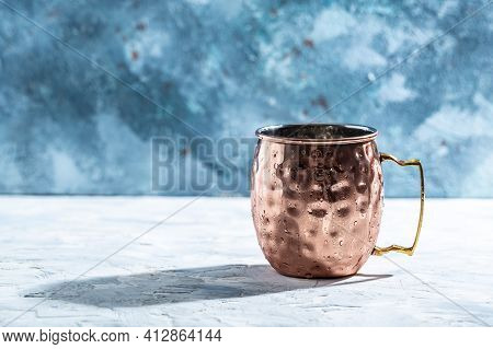 Hammered Vintage Copper Mug. Shiny Copper Moscow Mule Mug With Handle.
