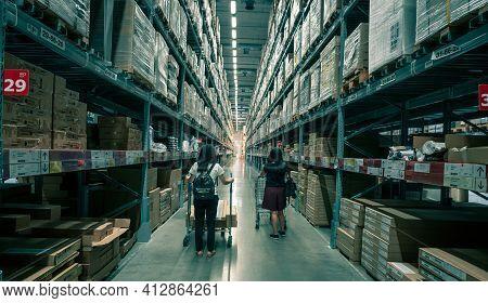 Samut Prakan, Thailand-september 26, 2020 : Two Asian Woman Shopping Furniture At Warehouse Of Ikea