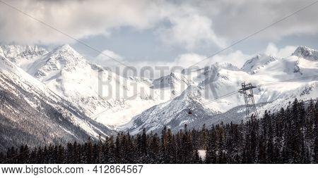 Whistler, British Columbia, Canada. Beautiful Aerial View Of Peak To Peak Gondola With The Canadian