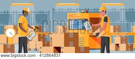 Conveyor Belt Machine Concept In Warehouse. Modern Factory Equipment. Warehouse Process Service. Pac