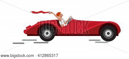 A Girl Driving A Red Sports Car Goes On A Trip. Vector Flat Illustration