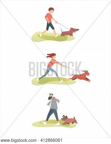 Dog Walking Set. Girl, Boy, Young Man With Their Pets. Isolated Images Of Characters On A White Back